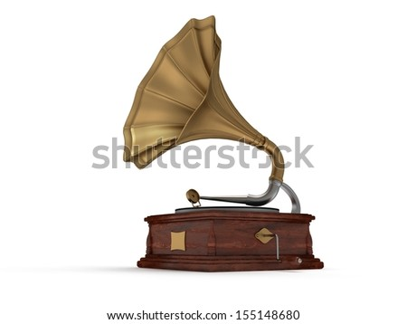3d old vintage gramophone isolated on white background #155148680