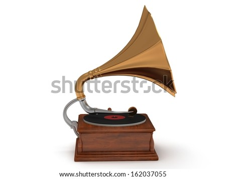 3d old vintage gramophone isolated on white background. Retro music concept #162037055