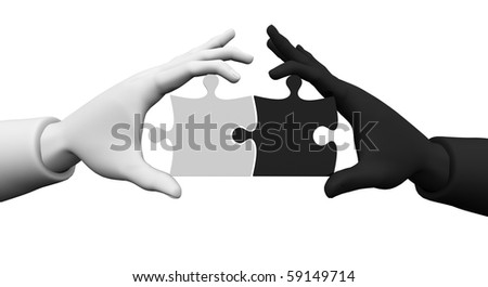 3d. On the white background of the two hands white and black, in the hands of puzzles - symbolizing the business partnership.