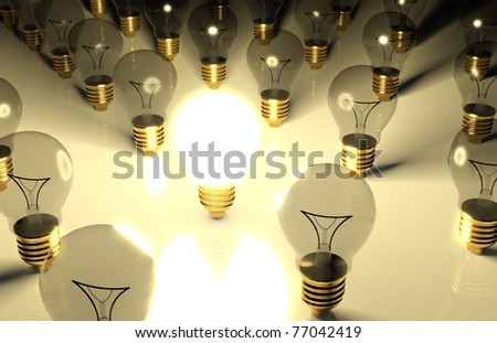 3d one glowing light bulb and the other light bulbs in rows