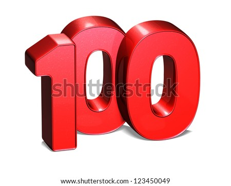 3D One Hundred on white background - stock photo