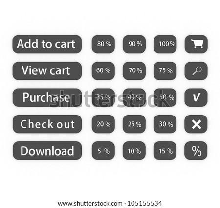 3d Online shop button set