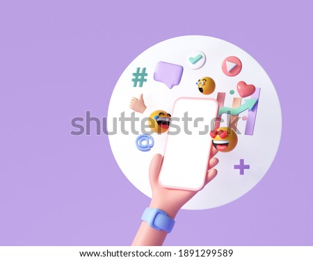 3D Online Social media communication platform concept. Hand holding phone with emoji, comment, love, like and play icons. 3d render illustration