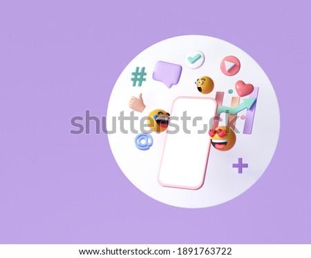 3D Online Social media communication platform concept. Smartphone with emoji, comment, love, like and play icons. 3d render illustration