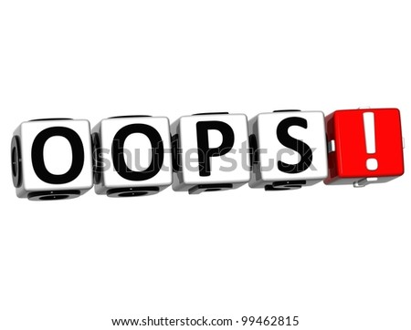 3D Oops Block Text  on white background - stock photo