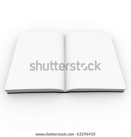 3d open blank book isolated on white