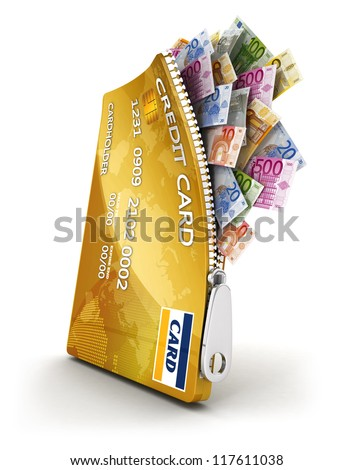 3d open credit card with a lot of euro bills, isolated white background, 3d image