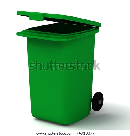 3d open green container isolated on white