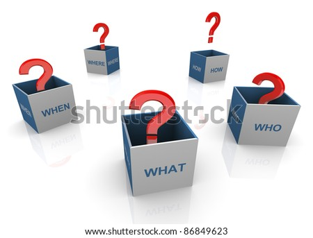 3d open questions words boxes with red question marks