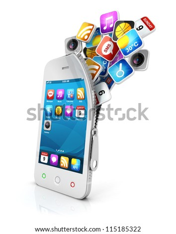 3d open smartphone with cloud of application icons, isolated white background, 3d image