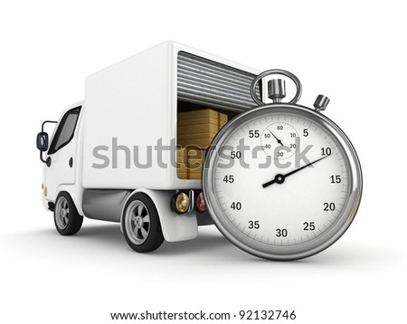 3D Open White Van with Stopwatch isolated