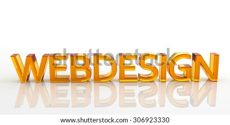 3D Orange Colored Webdesign Word Made of Glass with Reflection on the Ground and White Background - Rendered Illustration #306923330