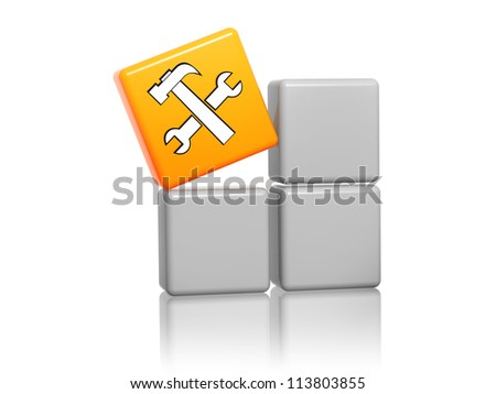 3d orange cube with service sign with tools on grey boxes