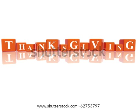 3d orange cubes with letters makes Thanksgiving