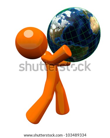 3d orange man carrying a globe, a concept in responsability toward the earth.