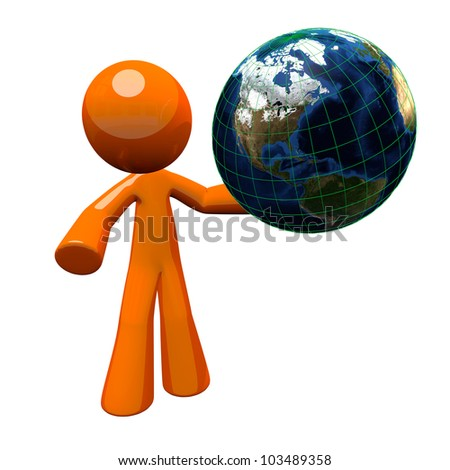 3d orange man holding a globe, or the earth. Earth is detailed when you look up close. This illustration is as good zoomed in as it is zoomed out.