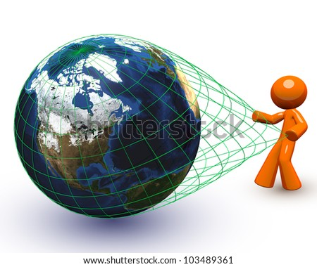 3d Orange Man pulling a giant globe - a general and vague concept open to interpretation.