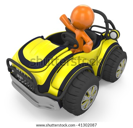 3D Orange Man Sitting Inside A Yellow Sports Vehicle/Dune Buggy; 3D Orange Man Modeling Inside A Sports Car