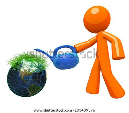 3d Orange Man watering a little earth globe with grass sprouts coming out of it. Concept in earth sustaining and environmental.