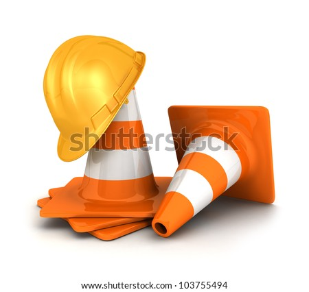 3d orange traffic cones and a yellow safety helmet, isolated white background, 3d image