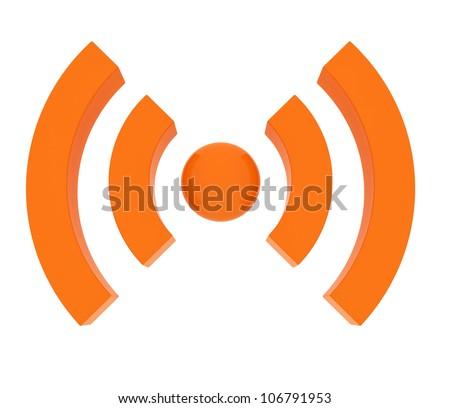 3d orange wireless icon render on white - stock photo