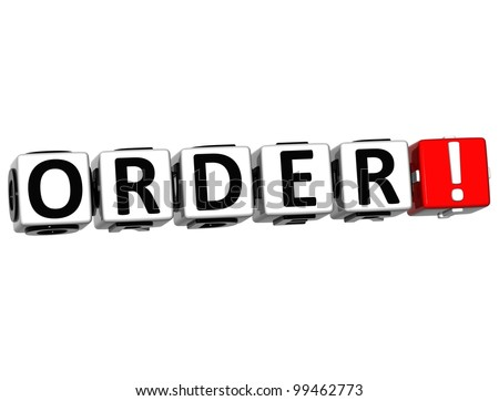 3d Order Block Text On White Background Stock Photo