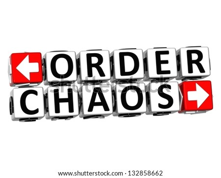 3D Order Chaos Button Click Here Block Text over white background