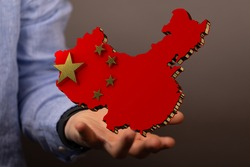 3d Outlined People's Republic of China map country silhouette in national flag