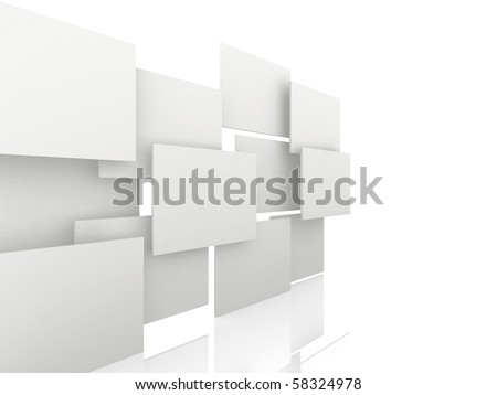 3d overlapping rectangles isolated over a white background - side view
