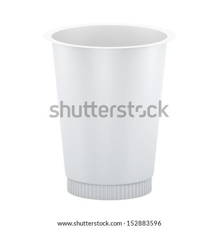 3D Package Plastic container for yoghurt, isolated