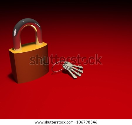 3d padlock and bunch of keys on red