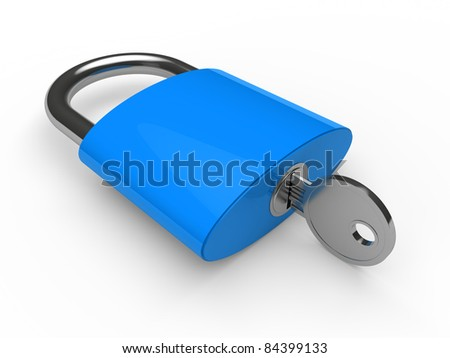 3d padlock blue key safety lock lie