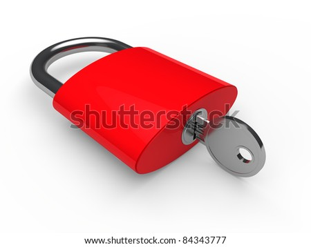 3d padlock key safety red lock security
