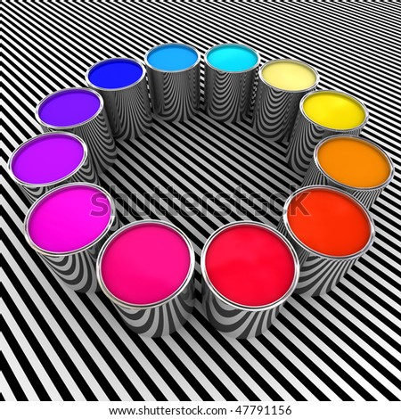 3d paint color and metal can background
