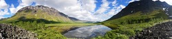 3d panorama. Sarek National Park. North of Sweden. The nature of the polar circle. Mountain wild landscape. Beautiful natural background. Can be used for architectural visualization