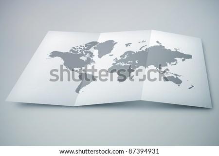 3D paper map on desk #87394931