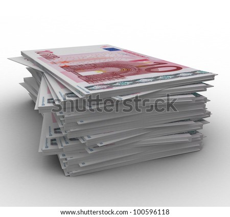 3d paper money 10 euros on a white background isolated