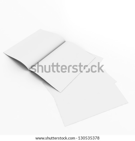 3D paper sheet open book with blank pages