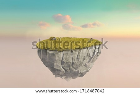 3d paradise rock floating island with gree grass field, surreal 3d rendering float stone land isolated on surreal cyan dusk