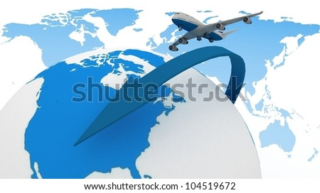 3d passenger jet airplane travels around the world