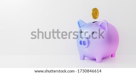 3d pastel piggy bank isolated on white background abstract with gold coins falling. 3d render for investment banking financial. Save money business finance. Purple pig money box icon. minimal design.
