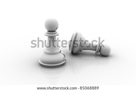 3D pawn on white background