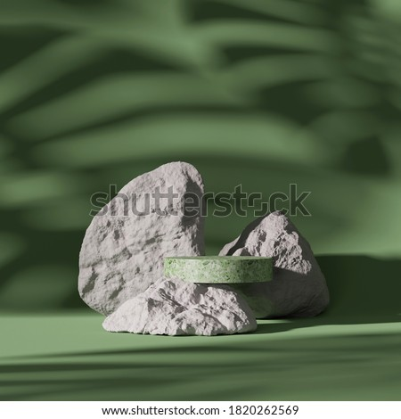 3D pedestal display and rock on monstera exotic palm leaf shadow. Green, pastel background with terrazzo stone podium showcase for beauty, cosmetics product. Abstract nature 3D render illustration  Stockfoto ©