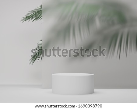 3D pedestal podium  on white background with palm tree leaves Summer holiday beauty product promotion platform display mockup . Natural 3D render copy space banner minimal  trendy illustration.