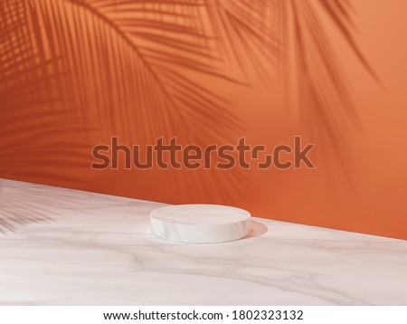 3D pedestal podium, orange background with palm tree leaves shadow. Summer holiday beauty, cosmetics, product platform display mockup. Natural 3D render Halloween, autumn minimal  trendy illustration.