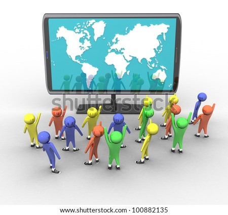 3d people and a television with a picture of a world map on a white background isolated