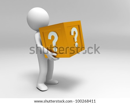 3d people are holding the question mark box