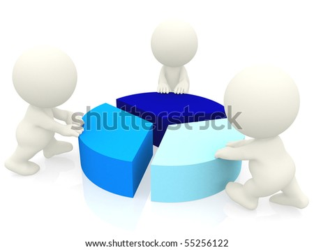 3D people around a pie chart isolated over a white background