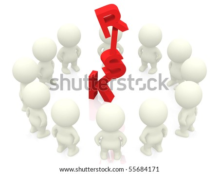 3D people around the word risk - isolated over a white background