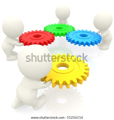 3D people assembling cogwheels isolated over a white background